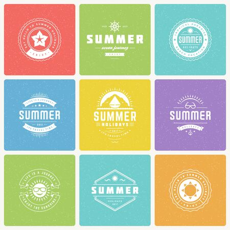 holiday party: Summer holidays design elements and typography vector set.