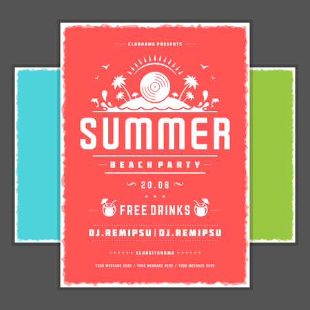 texture: Retro summer party design poster or flyer. Illustration