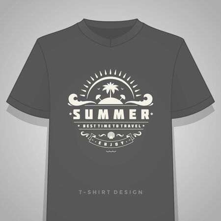 style: Summer holidays typography tee shirt print graphics template illustration.