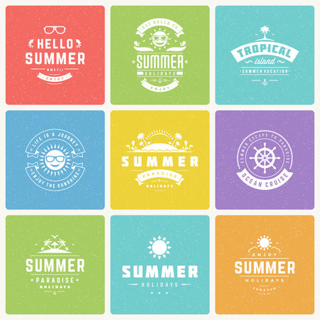 holiday background: Summer holidays design elements and typography vector set.