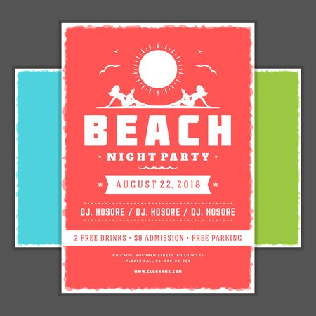 event party: Retro summer party design poster, night club event typography.