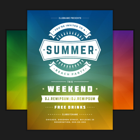 dancing club: Retro summer party design poster or flyer on abstract background.