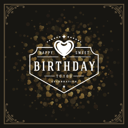 golden: Happy birthday greeting card design vector illustration.