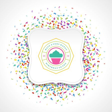 modern: Happy Birthday typographic for greeting card design vector illustration. Vintage birthday badge or label with wish message on colorful confetti background. Eps 10.