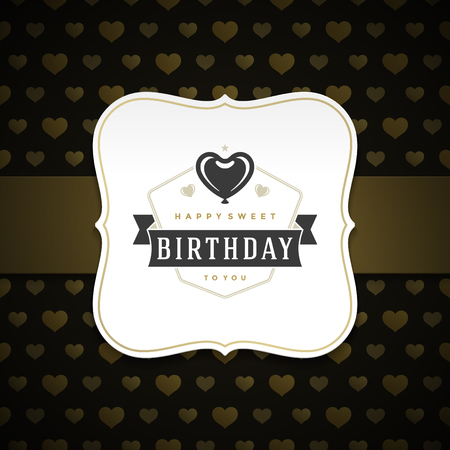 celebration background: Happy Birthday typographic for greeting card design vector illustration. Vintage birthday badge or label with wish message on pattern background.