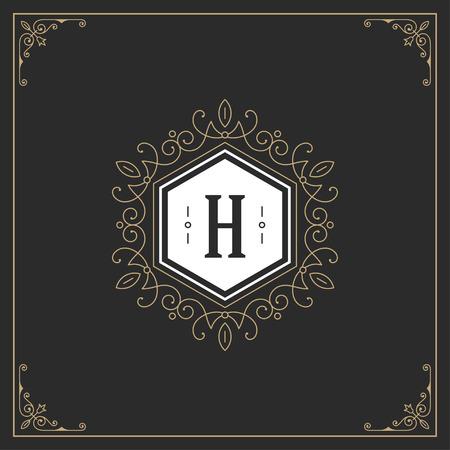 antique: Ornament logo design template vector flourishes calligraphic decorations elegant