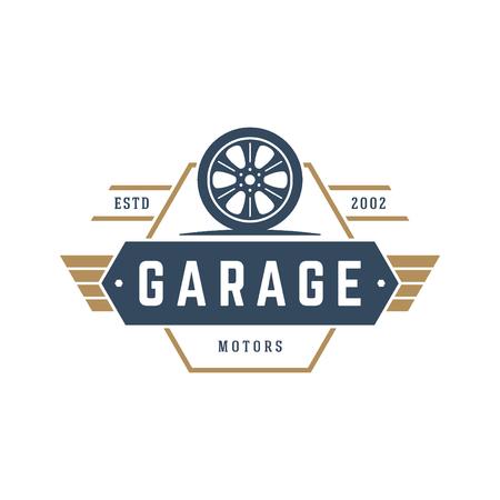 auto repair: Car wheel logo template vector design element vintage style Illustration