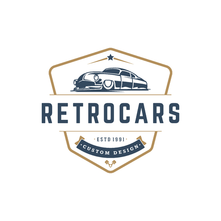 ホットロッド車ロゴのテンプレート ベクトル デザインの要素ビンテージ スタイル