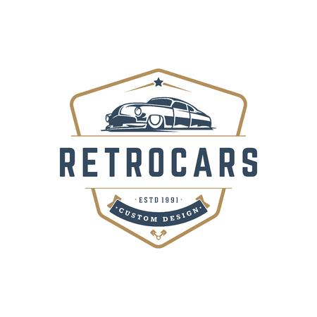 Hot rod car logo plantilla vector diseño elemento estilo vintage Foto de archivo - 81787730