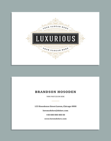 layout: Business card vintage ornament style and luxury logo vector template. Illustration
