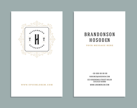 business people: Business card vintage ornament style and luxury logo vector template. Illustration