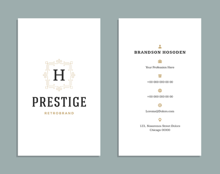 luxurious: Business card vintage ornament style and luxury logo vector template. Illustration