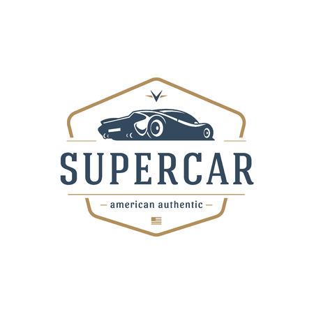 Sport car car logo template vector design element vintage style Illustration