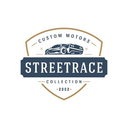 スポーツ車車ロゴ テンプレート ベクトル デザイン要素ビンテージ ラベルのスタイル