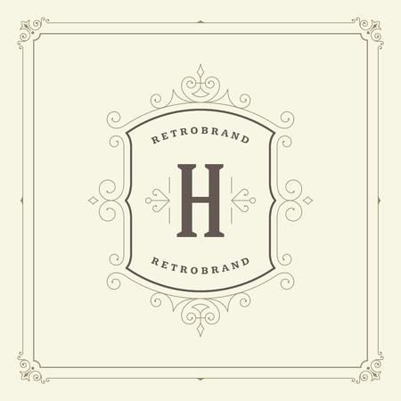 antique: Ornament monogram logo design template vector flourishes calligraphic decorations elegant royal lines.