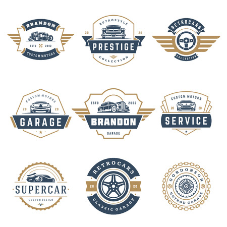 Car logos templates vector design elements set, vintage style emblems