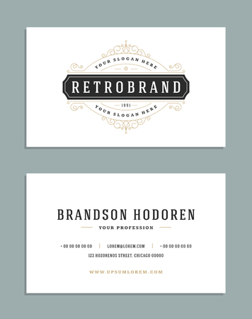 vintage background: Business card vintage ornament style and luxury logo vector template. Illustration