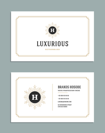 frame: Business card vintage ornament style and luxury logo vector template. Illustration