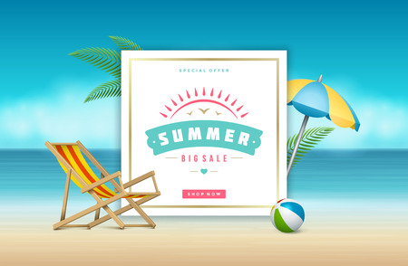 big: Summer Sale banner online shopping on beach background