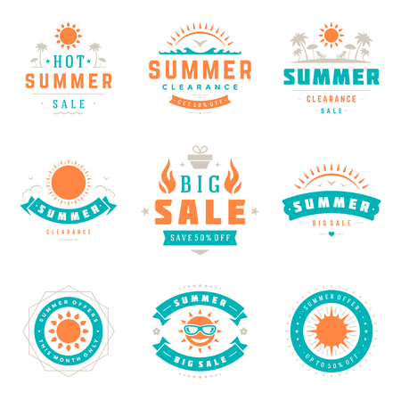 big: Summer season sale badges and tags design vector retro set Stock Photo