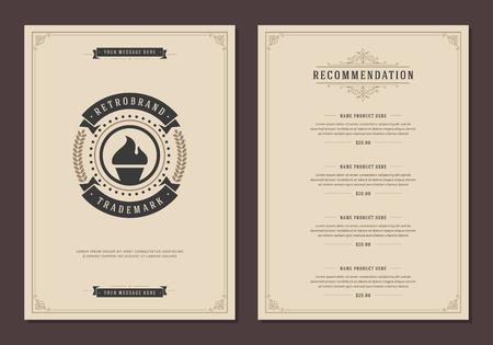 cup: Restaurant logo and menu cover design vector brochure template.