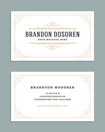 Business card vintage ornament style and luxury logo vector template. Иллюстрация