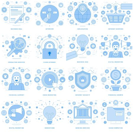 technology: Flat line illustrations and icons business concepts set Illustration