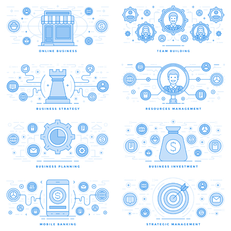 Flat line illustrations and icons business concepts set Ilustrace