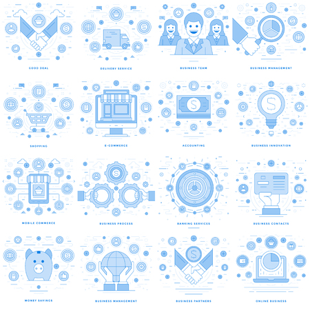 phone: Flat line illustrations and icons business concepts set Illustration