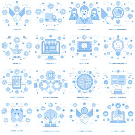 website header: Flat line illustrations and icons business concepts set Illustration