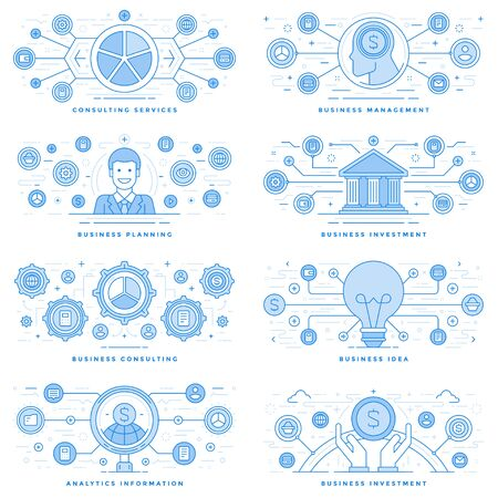 technology: Flat line illustrations and icons business concepts set Stock Photo