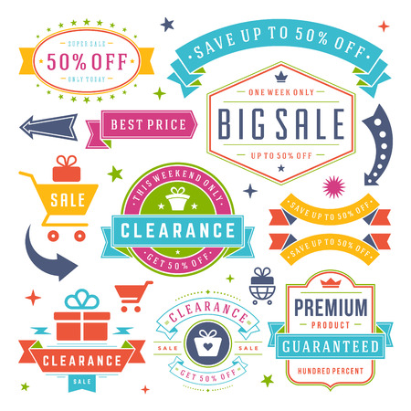 big: Sale Labels and Tags Design Vector Vintage Set Illustration