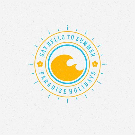 ocean waves: Summer holidays poster design on textured background vector illustration. Illustration
