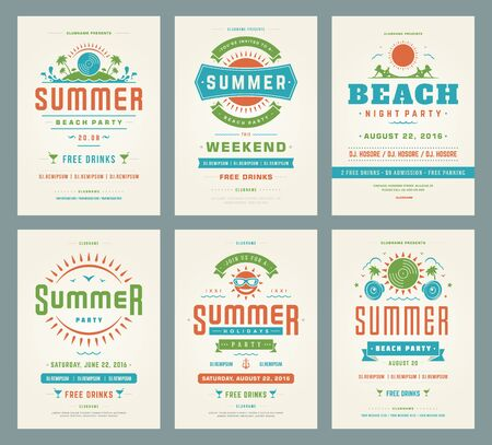 vintage background: Retro summer party design posters or flyers set.