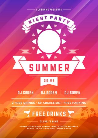 Retro Sommer-Party-Design-Plakat oder Flyer auf abstrakten Hintergrund. Standard-Bild - 83332764