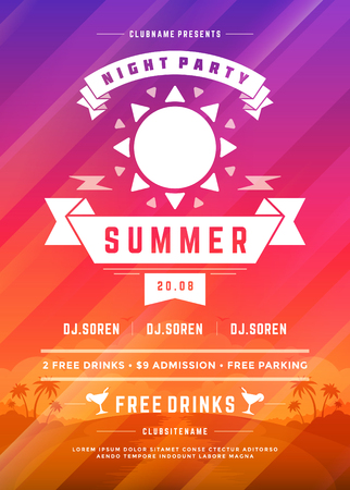 Retro summer party design poster or flyer on abstract background.