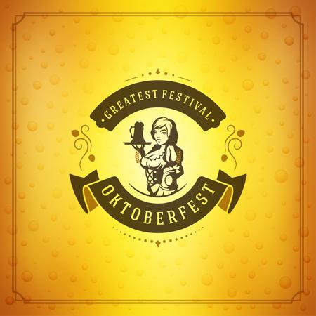 celebration party: Oktoberfest beer festival celebration vintage greeting card or poster Illustration