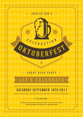 bar: Oktoberfest beer festival celebration retro typography poster or flyer Illustration