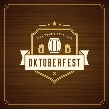 bar: Oktoberfest beer festival celebration vintage greeting card or poster Illustration
