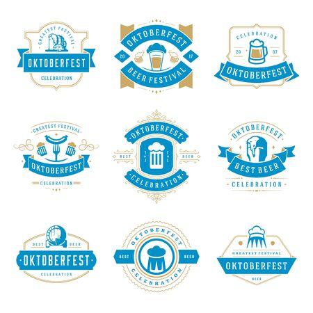 template: Oktoberfest celebration beer festival labels, badges and logos set