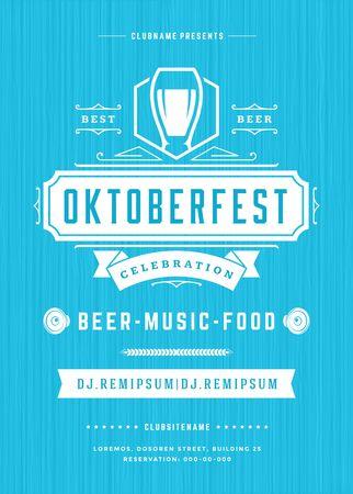 celebration party: Oktoberfest beer festival celebration retro typography poster Illustration