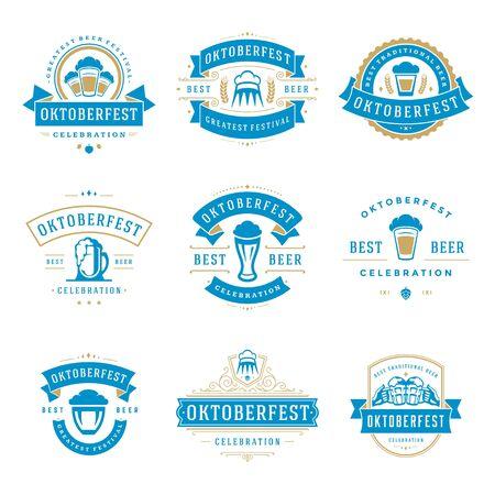 bar: Oktoberfest celebration beer festival labels, badges and logos set.
