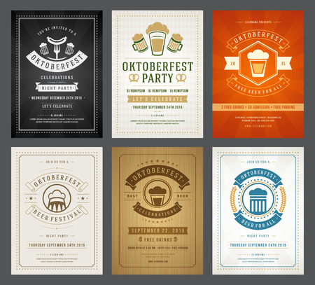 bar: Oktoberfest beer festival celebration retro typography posters or flyers Illustration