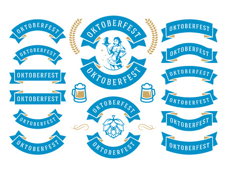 cup: Oktoberfest celebration beer festival ribbons and objects set