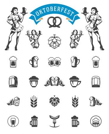 octoberfest: Celebración de Oktoberfest festival de la cerveza iconos y objetos conjunto Vectores