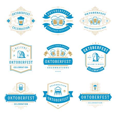 Oktoberfest viering bier festival etiketten, badges en logo's set