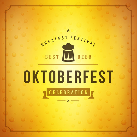 Oktoberfest beer festival celebration vintage greeting card or poster Illustration