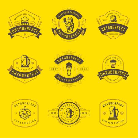 bar: Oktoberfest celebration beer festival labels, badges and logos set