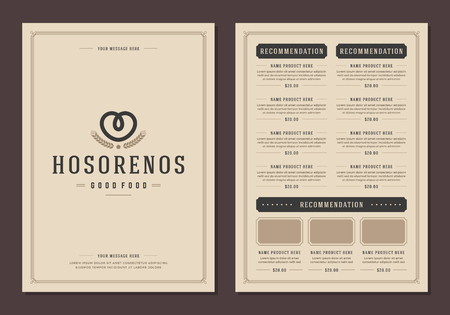 pretzel: Restaurant and menu design brochure template. Illustration