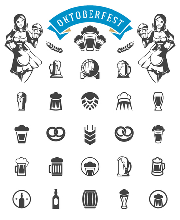 Oktoberfest celebration beer festival icons and objects set